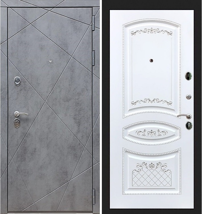 Входная дверь Лекс Соната Штукатурка графит / Белая серебряная патина (панель №121)