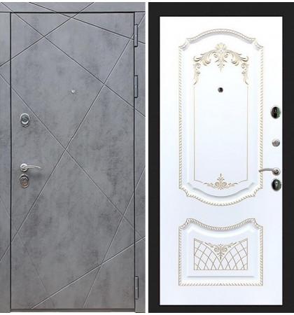 Входная дверь Лекс Соната Штукатурка графит / Белая золотая патина (панель №120)