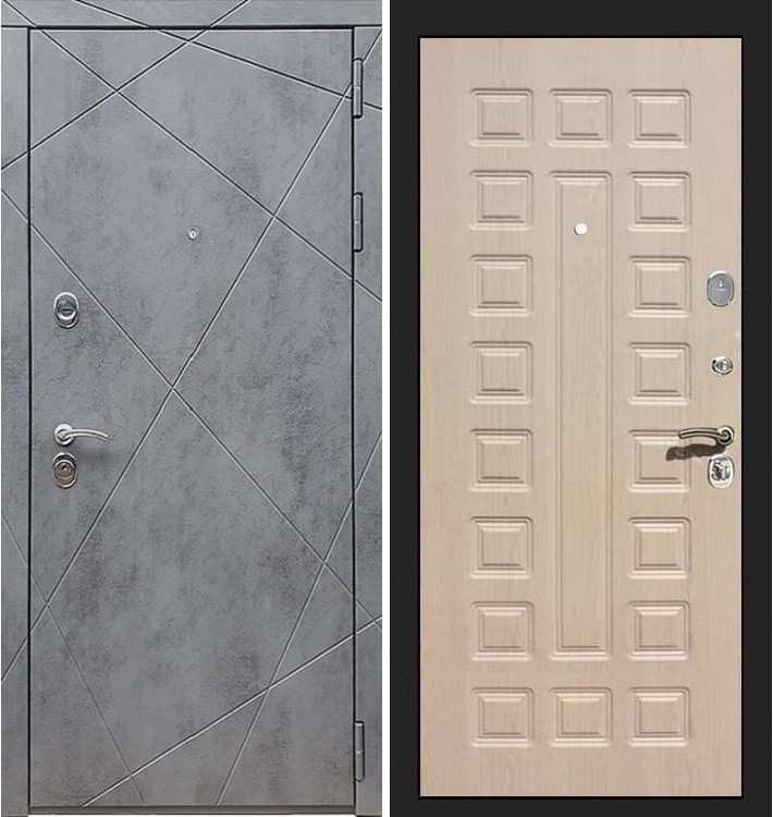 Входная дверь Лекс Соната Штукатурка графит / Беленый дуб (панель №20)