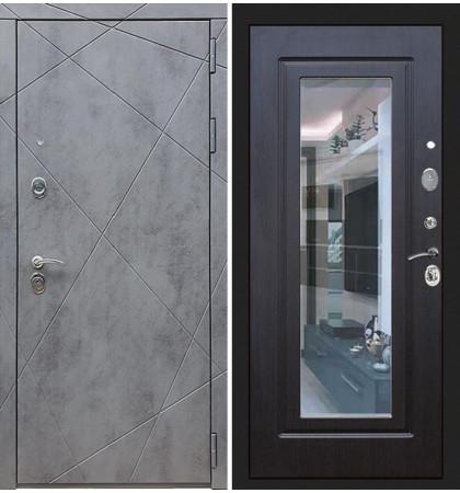 Входная дверь Лекс Соната Штукатурка графит / с зеркалом Венге (панель №22)
