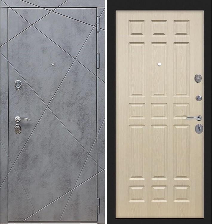 Входная дверь Лекс Соната Штукатурка графит / Беленый дуб (панель №28)