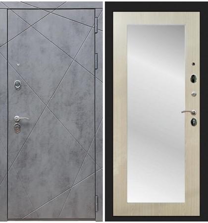 Входная дверь Лекс Соната Штукатурка графит / с зеркалом Беленый дуб (панель №37)