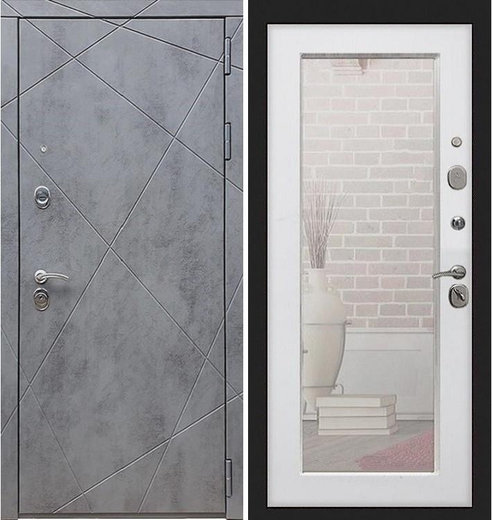 Входная дверь Лекс Соната Штукатурка графит / с зеркалом Белый ясень (панель №37)