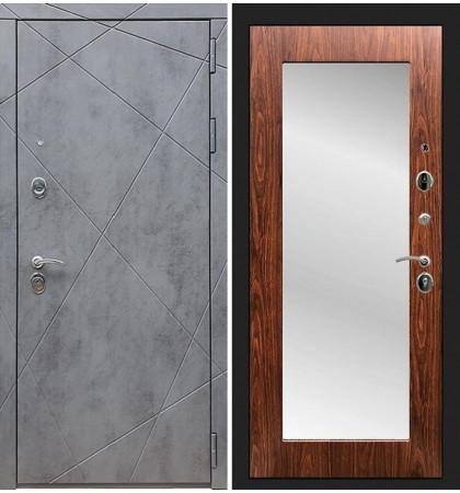 Входная дверь Лекс Соната Штукатурка графит / с зеркалом Береза мореная (панель №30)