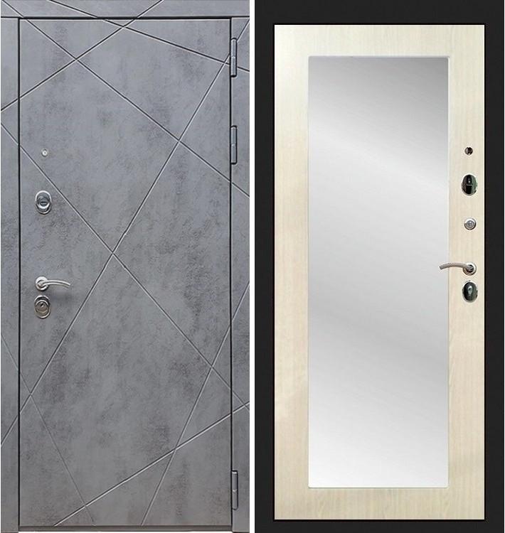 Входная дверь Лекс Соната Штукатурка графит / с зеркалом Лиственница беж (панель №37)