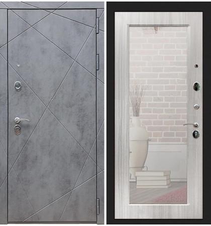 Входная дверь Лекс Соната Штукатурка графит / с зеркалом Сандал белый (панель №37)