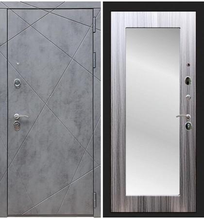 Входная дверь Лекс Соната Штукатурка графит / с зеркалом Сандал серый (панель №37)