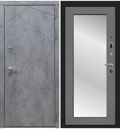 Входная дверь Лекс Соната Штукатурка графит / с зеркалом Графит софт (панель №37)