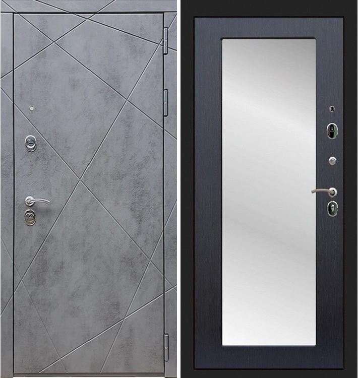 Входная дверь Лекс Соната Штукатурка графит / с зеркалом Венге (панель №37)