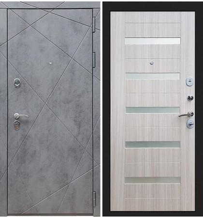 Входная дверь Лекс Соната Штукатурка графит / Сандал белый со вставками (панель №46)