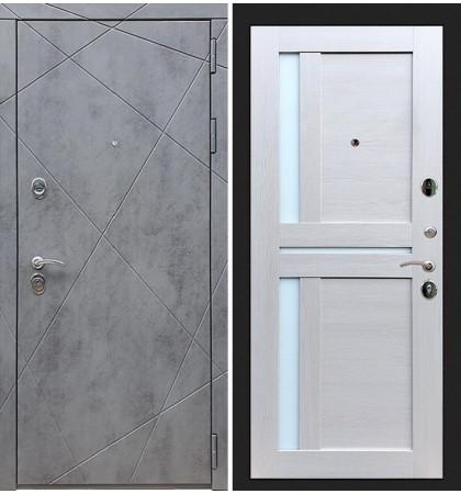 Входная дверь Лекс Соната Штукатурка графит / Лиственница беж со вставками (панель №49)
