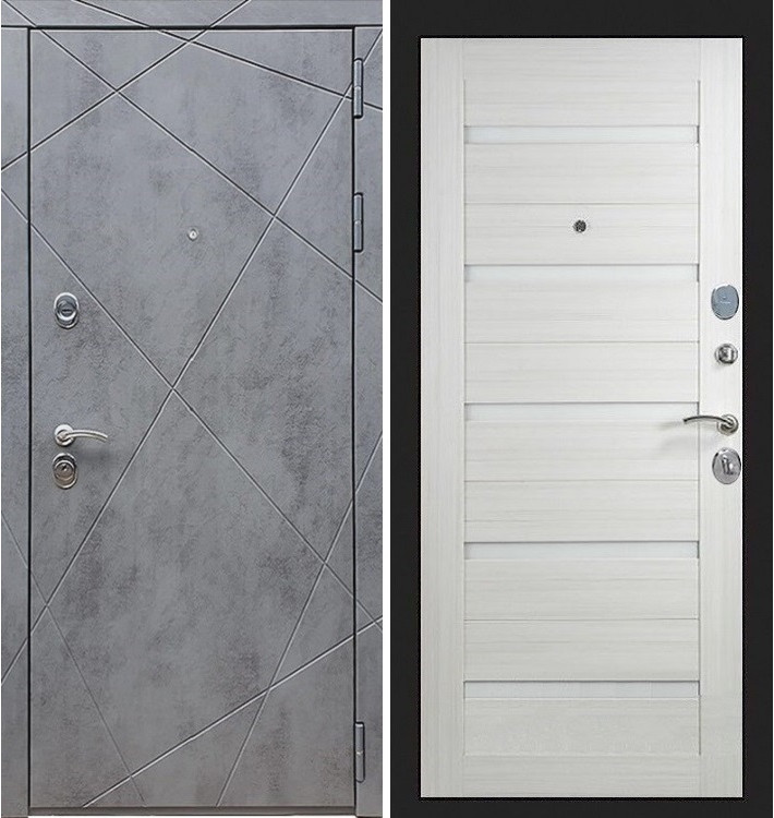Входная дверь Лекс Соната Штукатурка графит / Лиственница беж со вставками (панель №58)