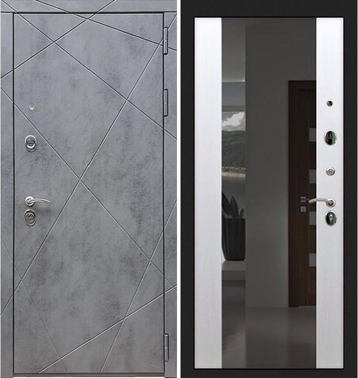 Входная дверь Лекс Соната Штукатурка графит / Стиль Белый ясень (панель №61)