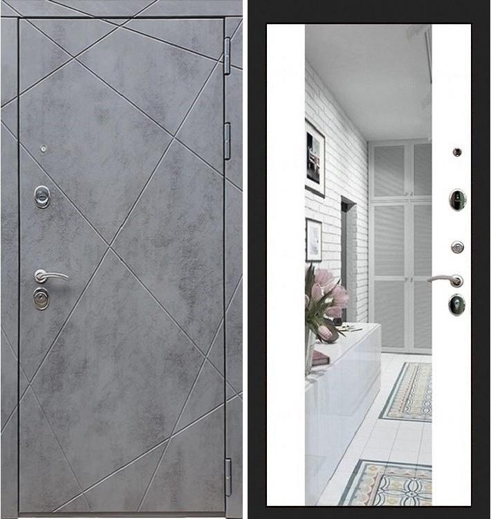 Входная дверь Лекс Соната Штукатурка графит / Стиль Белый софт (панель №61)