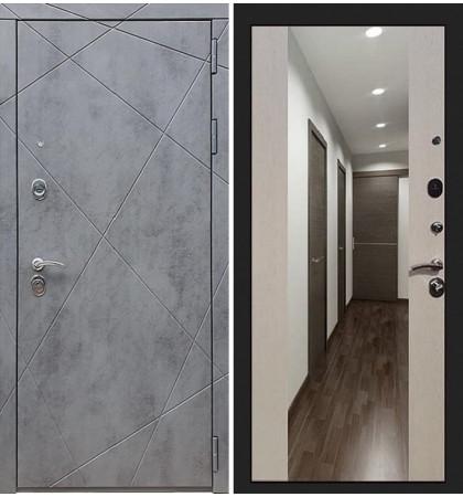 Входная дверь Лекс Соната Штукатурка графит / Стиль Лиственница беж (панель №61)