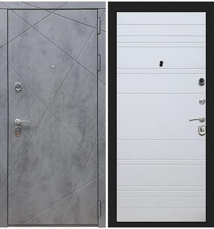 Входная дверь Лекс Соната Штукатурка графит / Белый софт (панель №63)