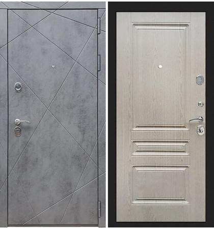 Входная дверь Лекс Соната Штукатурка графит / Беленый дуб (панель №94)