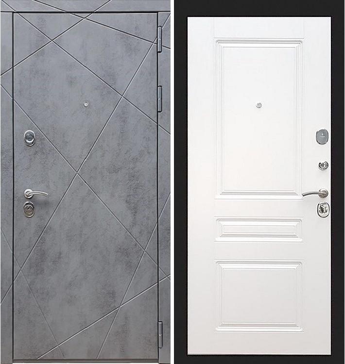 Входная дверь Лекс Соната Штукатурка графит / Белый софт (панель №94)
