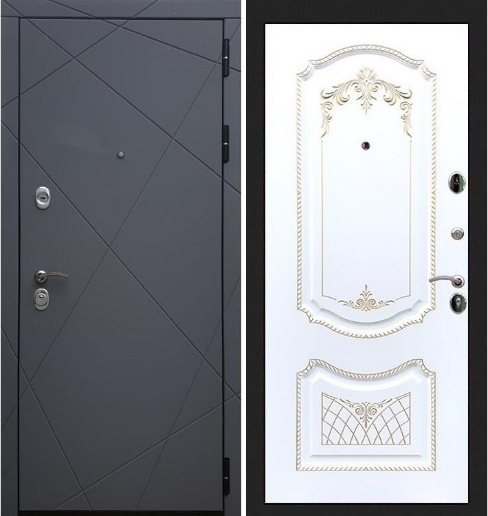Входная дверь Лекс Соната Графит софт / Белая серебряная патина (панель №120)