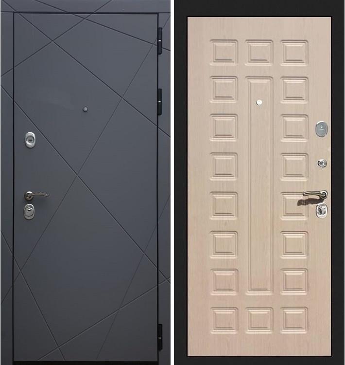 Входная дверь Лекс Соната Графит софт / Беленый дуб (панель №20)