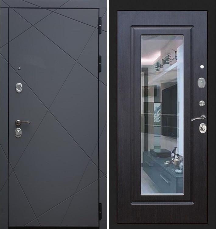 Входная дверь Лекс Соната Графит софт / с зеркалом Венге (панель №22)