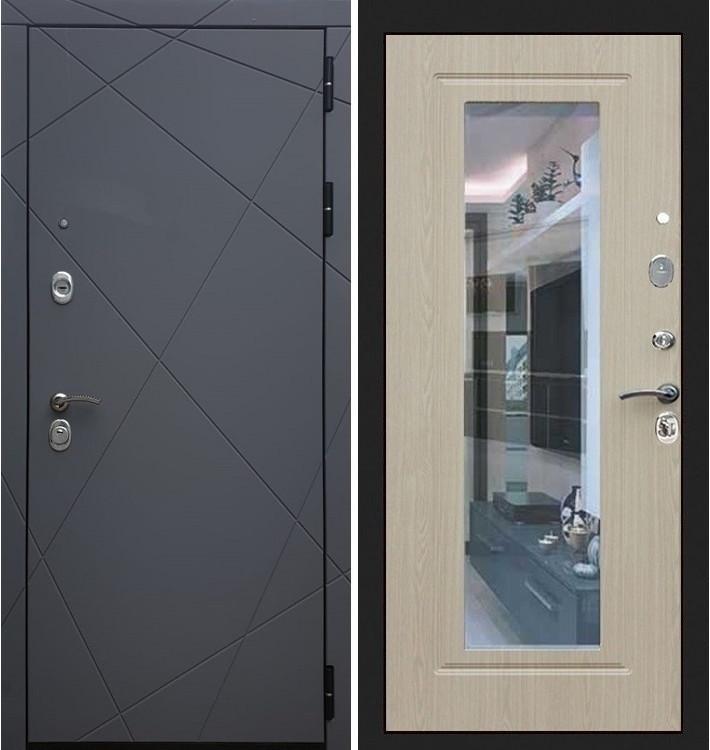 Входная дверь Лекс Соната Графит софт / с зеркалом Беленый дуб (панель №23)
