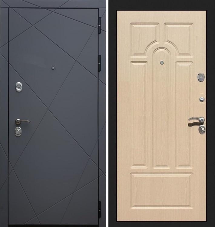 Входная дверь Лекс Соната Графит софт / Беленый дуб (панель №25)