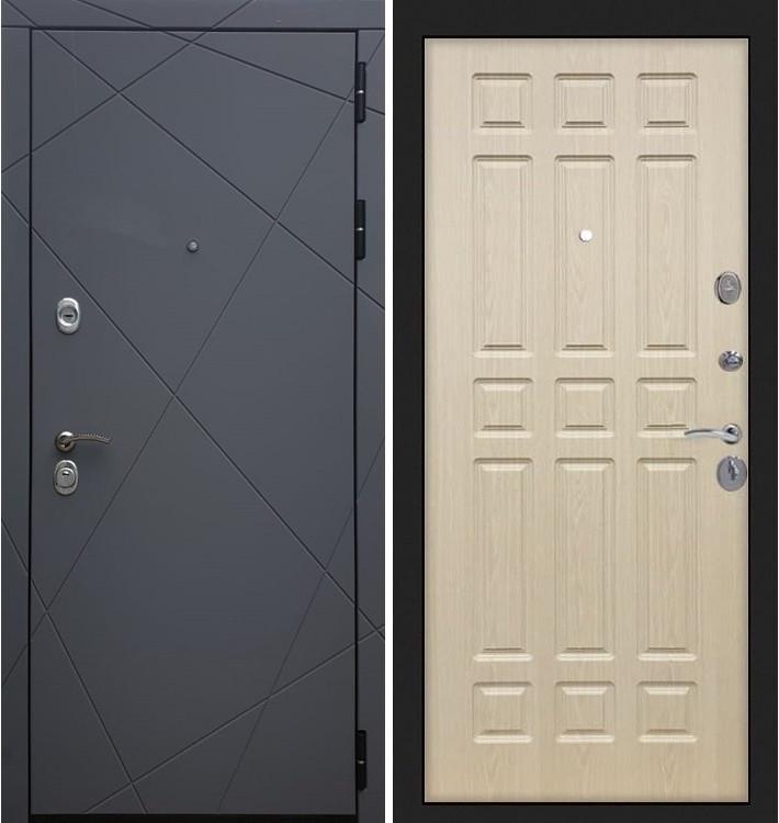Входная дверь Лекс Соната Графит софт / Беленый дуб (панель №28)