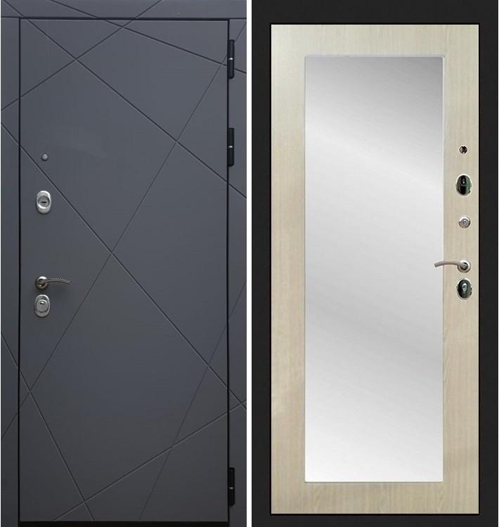 Входная дверь Лекс Соната Графит софт / с зеркалом Беленый дуб (панель №37)