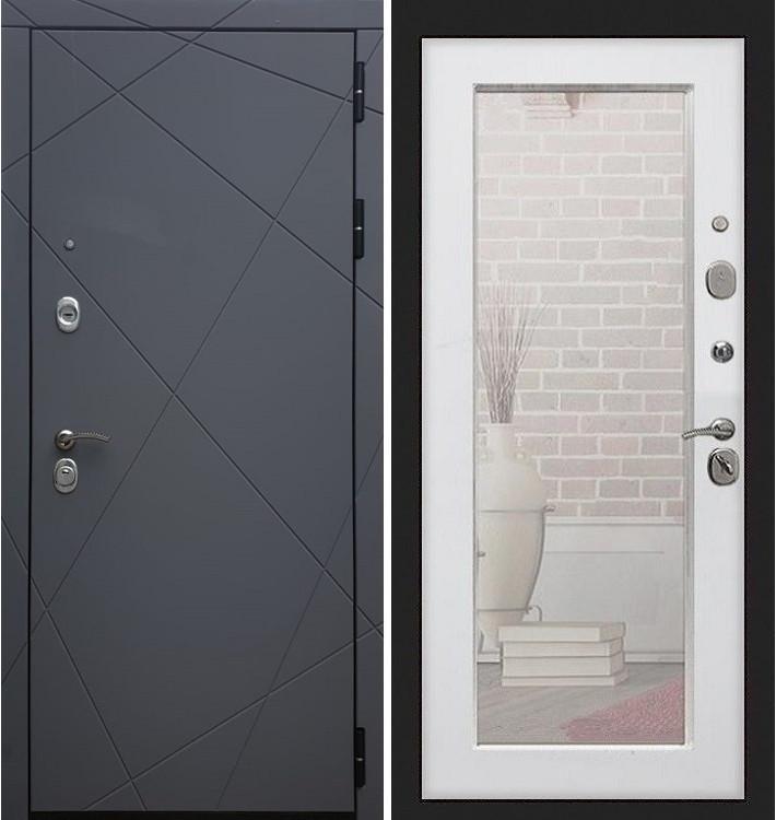 Входная дверь Лекс Соната Графит софт / с зеркалом Белый ясень (панель №37)