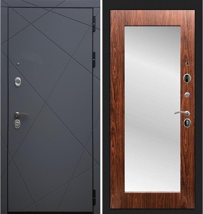 Входная дверь Лекс Соната Графит софт / с зеркалом Береза мореная (панель №30)