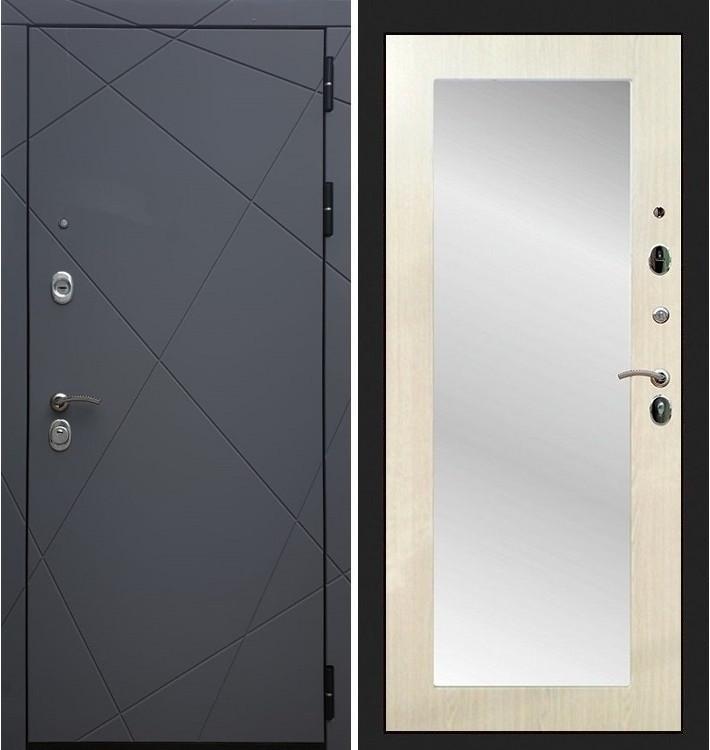Входная дверь Лекс Соната Графит софт / с зеркалом Лиственница беж (панель №37)