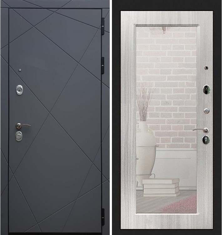 Входная дверь Лекс Соната Графит софт / с зеркалом Сандал белый (панель №37)