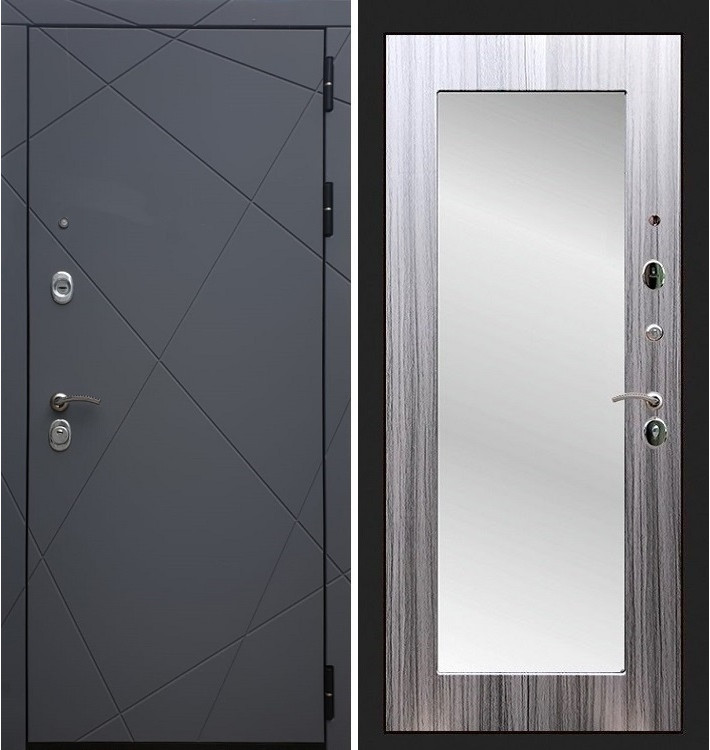 Входная дверь Лекс Соната Графит софт / с зеркалом Сандал серый (панель №37)