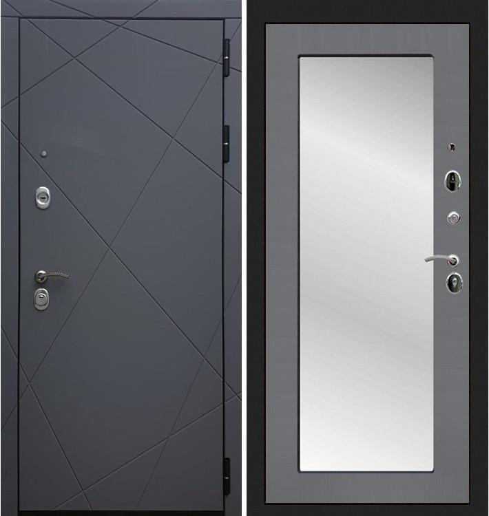 Входная дверь Лекс Соната Графит софт / с зеркалом Графит софт (панель №37)