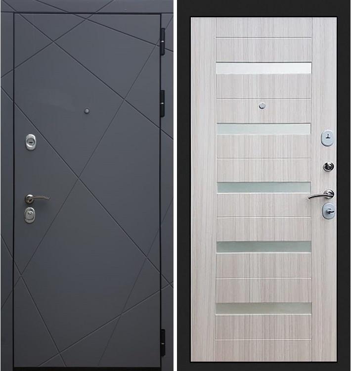Входная дверь Лекс Соната Графит софт / Сандал белый со вставками (панель №46)
