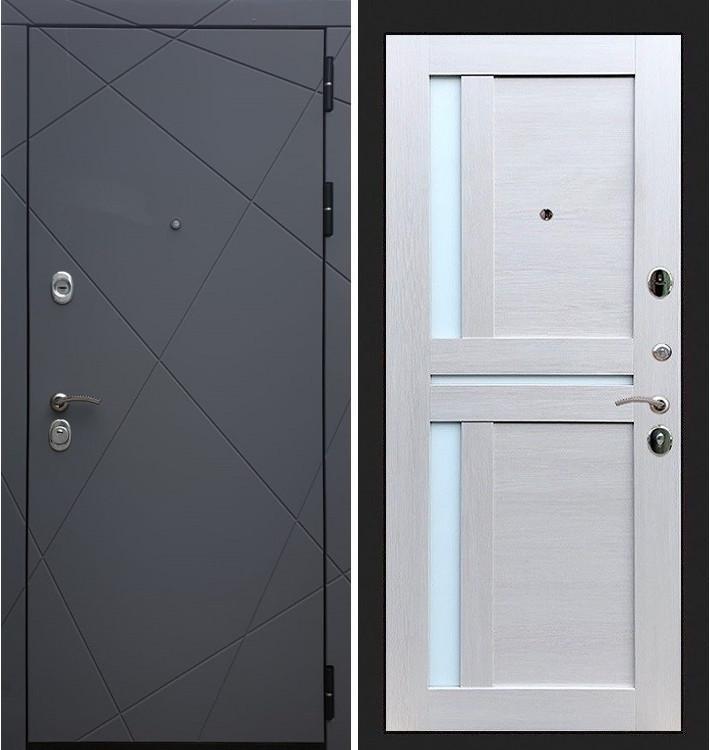 Входная дверь Лекс Соната Графит софт / Лиственница беж со вставками (панель №49)