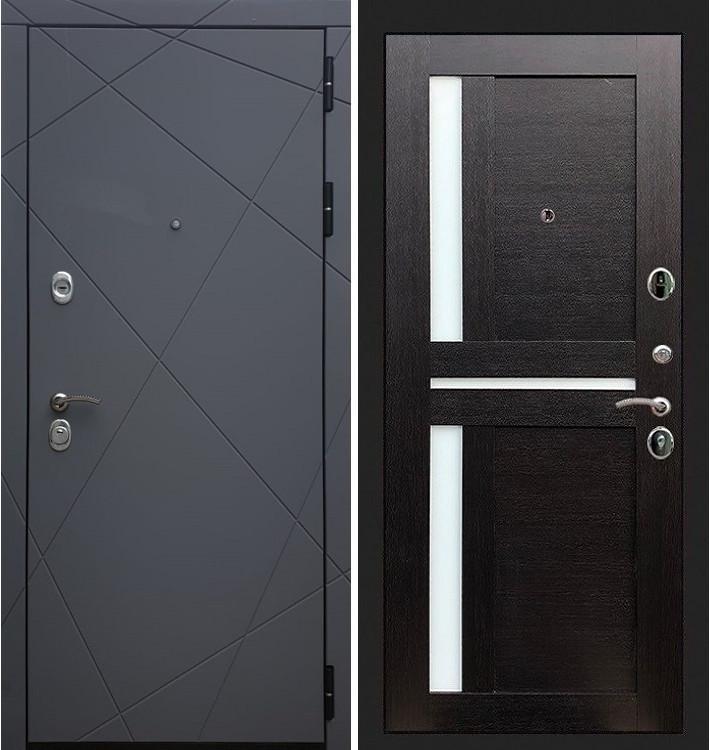 Входная дверь Лекс Соната Графит софт / Венге со вставками (панель №35)