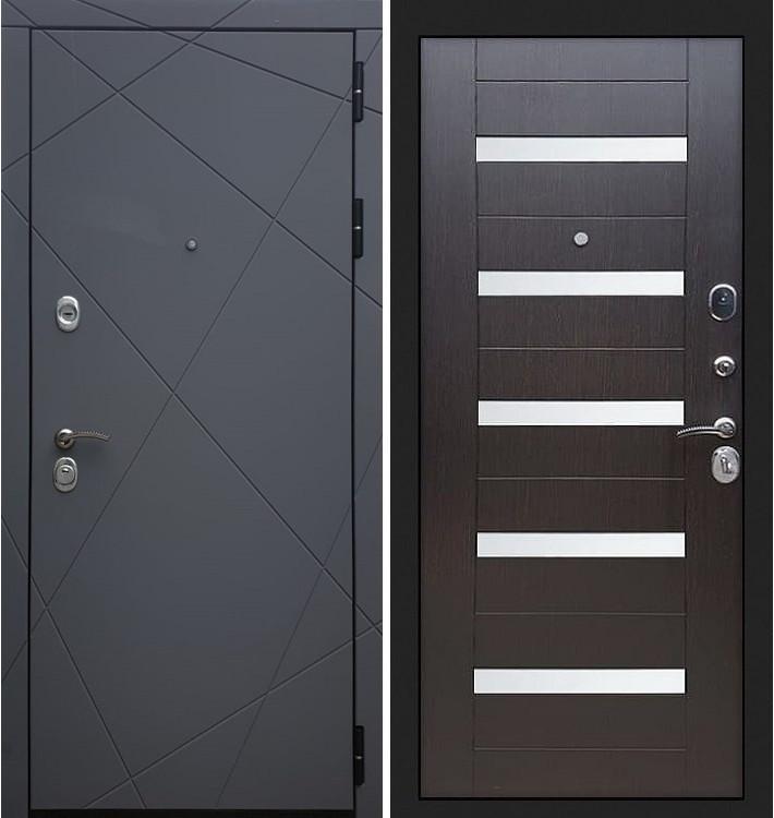 Входная дверь Лекс Соната Графит софт / Венге со вставками (панель №51)