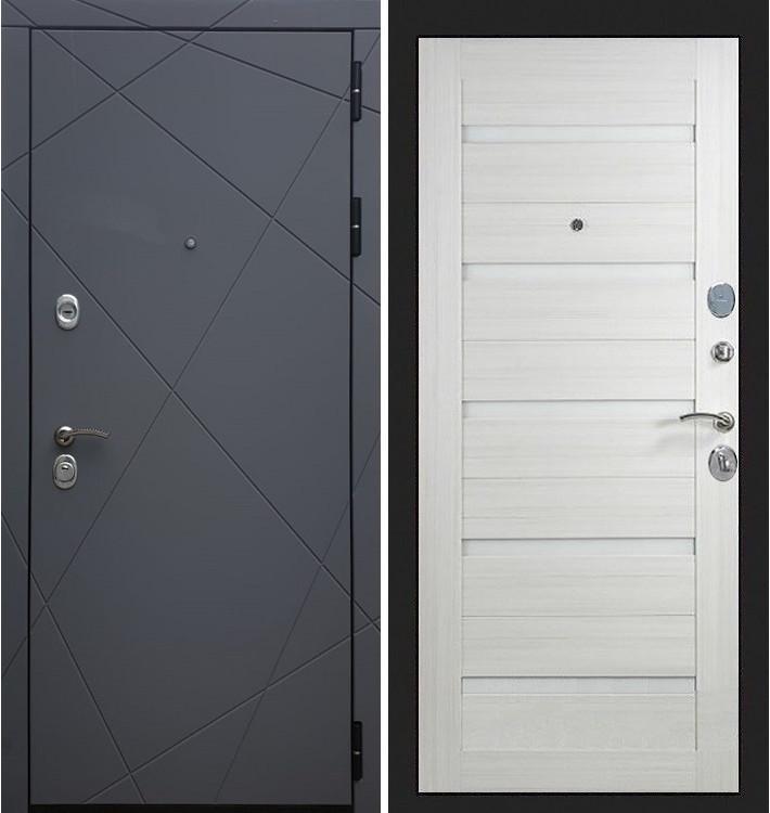 Входная дверь Лекс Соната Графит софт / Лиственница беж со вставками (панель №58)