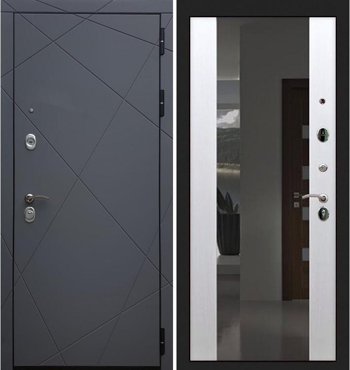 Входная дверь Лекс Соната Графит софт / Стиль Белый ясень (панель №61)