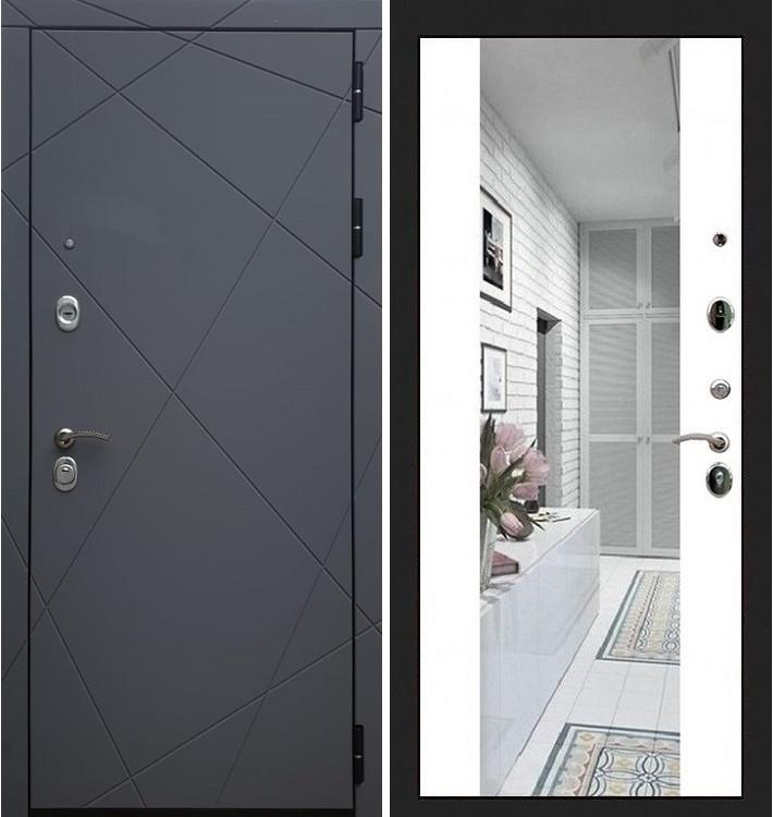Входная дверь Лекс Соната Графит софт / Стиль Белый софт (панель №61)