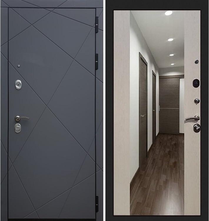 Входная дверь Лекс Соната Графит софт / Стиль Лиственница беж (панель №61)