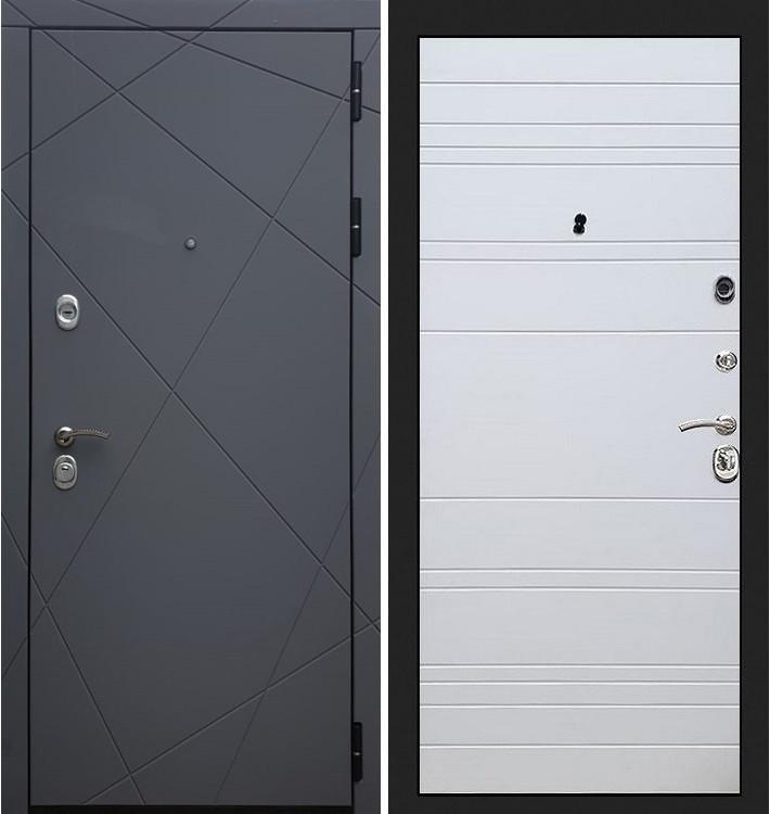 Входная дверь Лекс Соната Графит софт / Белый софт (панель №63)