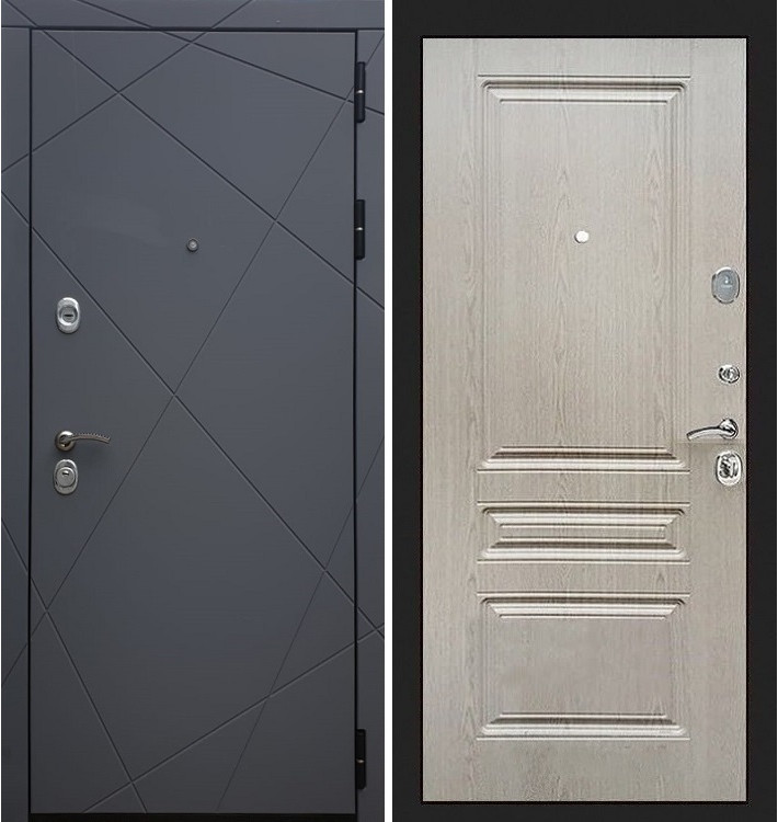 Входная дверь Лекс Соната Графит софт / Беленый дуб (панель №94)