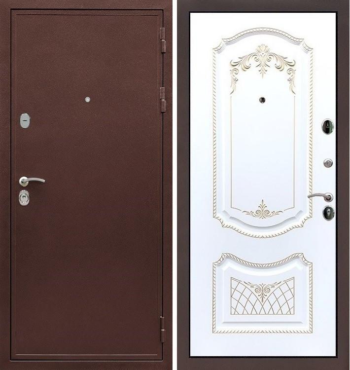 Входная дверь Цезарь 5А / Белая серебряная патина (панель №120)