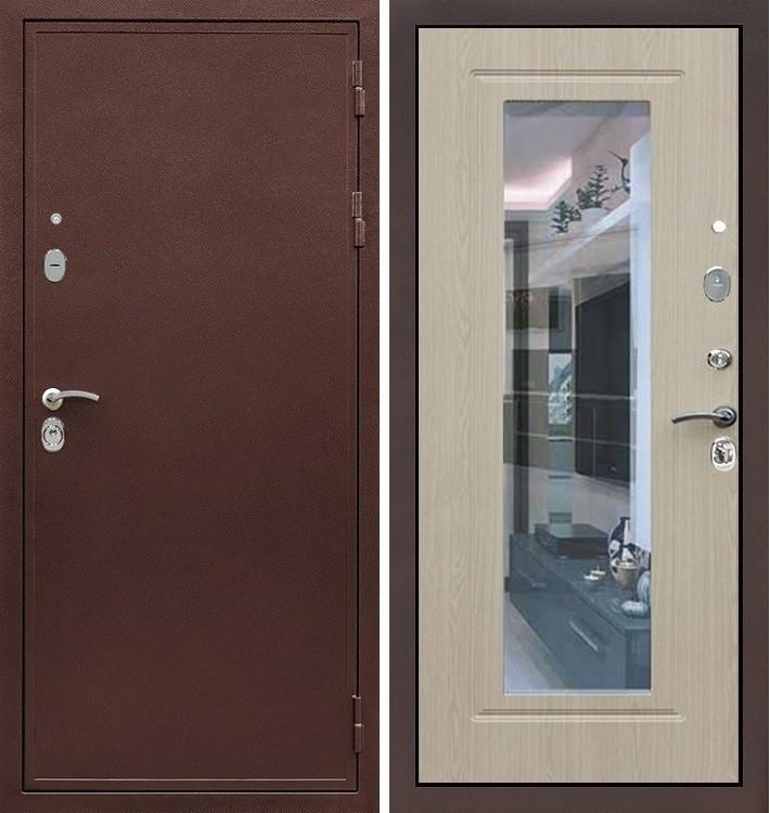 Входная дверь Цезарь 5А / с зеркалом Беленый дуб (панель №23)
