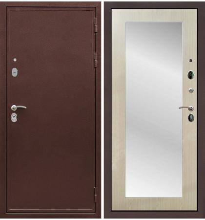 Входная дверь Цезарь 5А / с зеркалом Беленый дуб (панель №37)