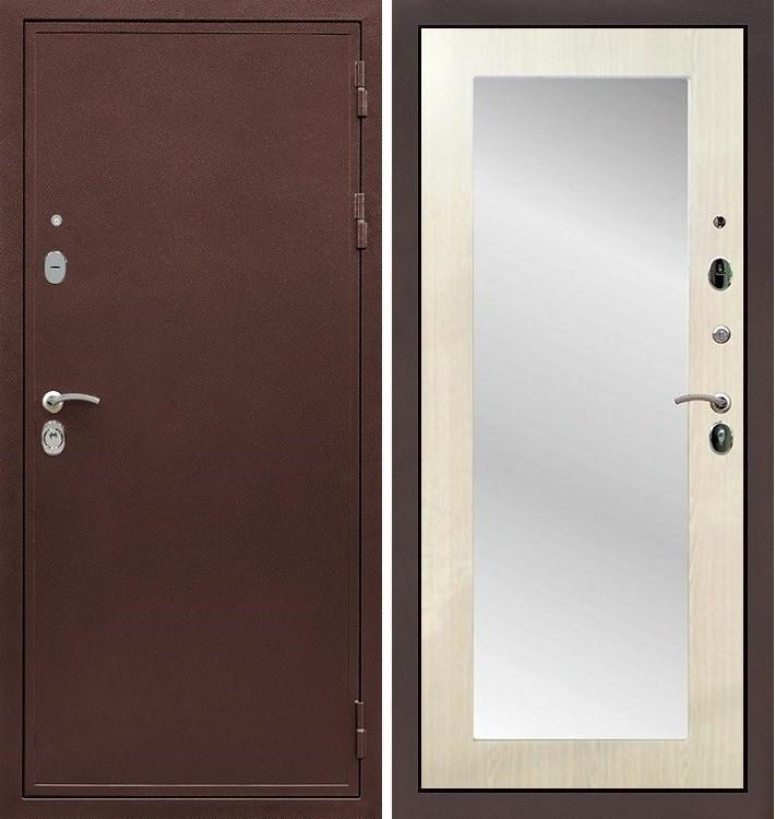 Входная дверь Цезарь 5А / с зеркалом Лиственница беж (панель №37)