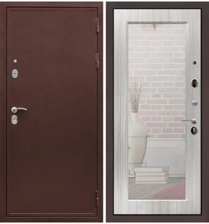 Входная дверь Цезарь 5А / с зеркалом Сандал белый (панель №37)